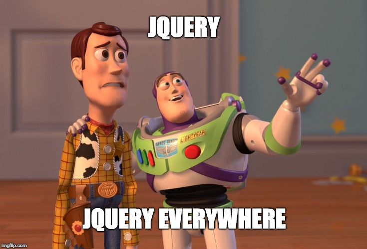 Buzz and Woody contempling jQuery